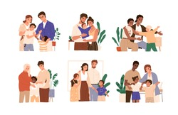 Scene of kid adoption. Multicultural foster families and couples adopt diverse children. Happy parents embracing their adopted daughters and sons. Flat vector cartoon illustration isolated on white
