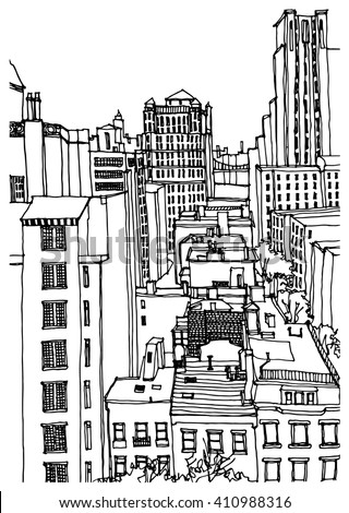 scene street illustration. hand ...