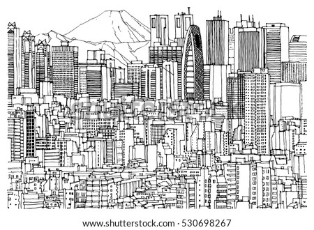 Hand Drawn Ink Line Sketch Tokyo Japan With Buildings Skyscrapers