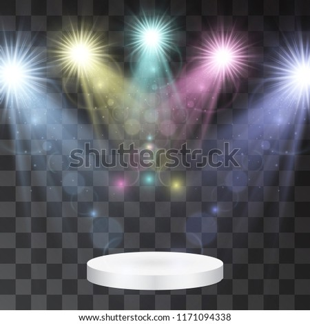 Scene under neon glowing light illumination. Catwalk vector with projectors, celebrity concert, performance presentation with intriguing floodlights. Magical fabulous, luxurious concept. Award podium. - Shutterstock ID 1171094338