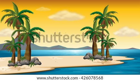 scene with beach and ocean