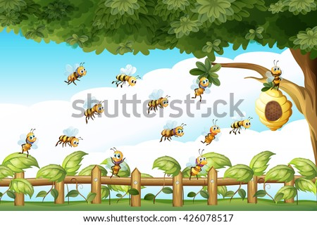 scene with bees flying around