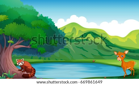 scene with deer and red panda