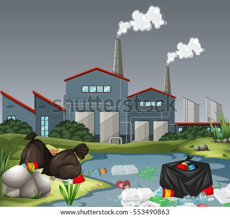 scene with factory and water
