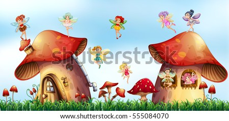 Scene with fairies flying around mushroom houses illustration