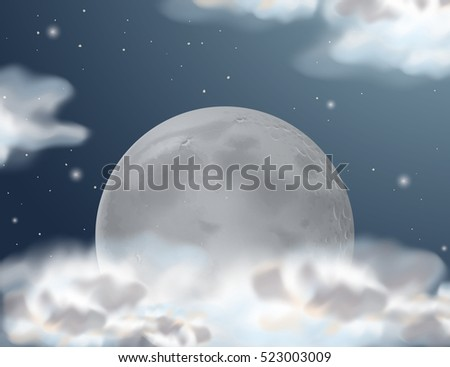 Scene with fullmoon at night time illustration