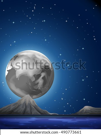 Scene with fullmoon over the sea illustration