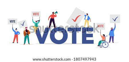 Scene with group of people, walking with flags to elections. Crowd of women and men at a demonstration. Concept for election campaign, voting theme vector background.