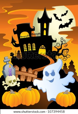 Scene with Halloween theme 5 - vector illustration.