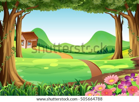stock-vector-scene-with-house-in-the-field-illustration