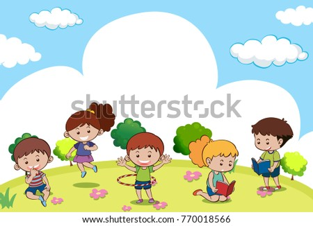 Scene with many kids doing different activities illustration