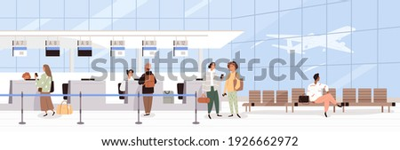 Scene with people during registration at airport counter check-in. Panorama of air terminal interior with tourists. Colored flat cartoon vector illustration of passengers waiting for plane departure
