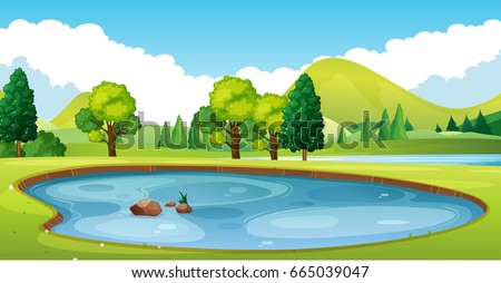 Scene with pond in the field illustration