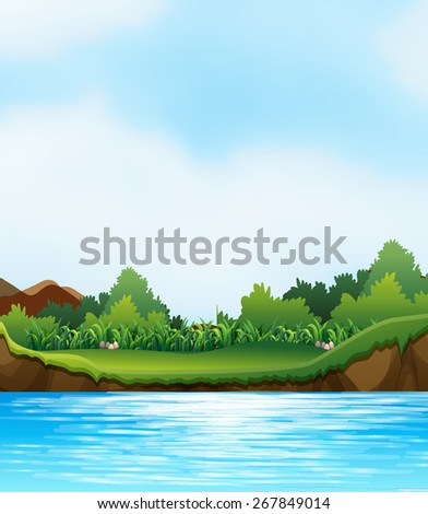 Scene with river and river bank