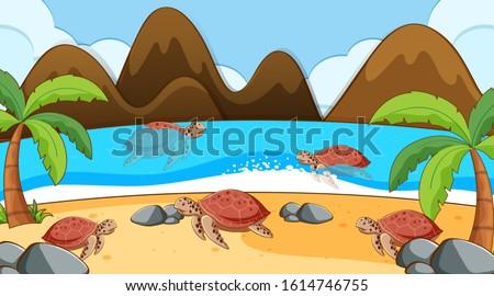 Scene with sea turtles swimming in the sea illustration