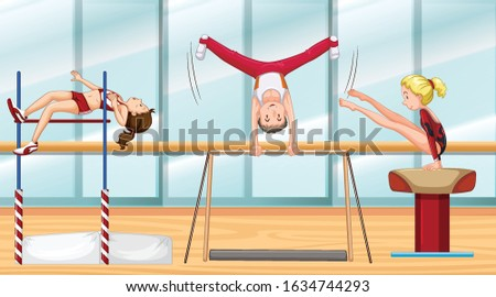 scene with three athletes doing