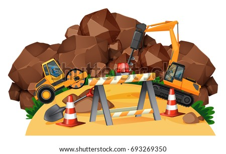 Scene with tractors working at construction site illustration