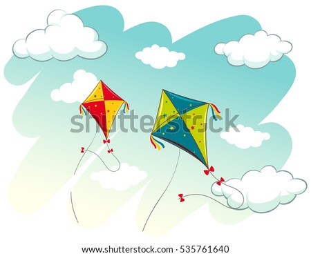 Scene with two kites in the sky illustration