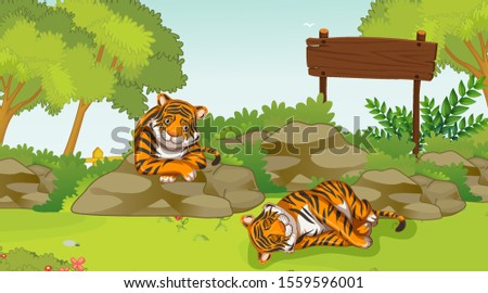 scene with two sad tigers in