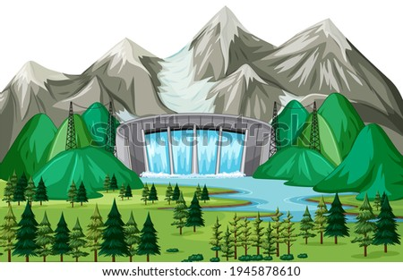scene with water dam background