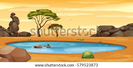 scene with water hole on the