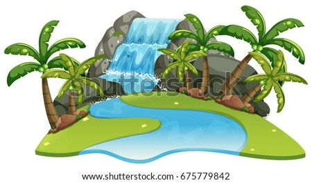 Scene with waterfall and river illustration