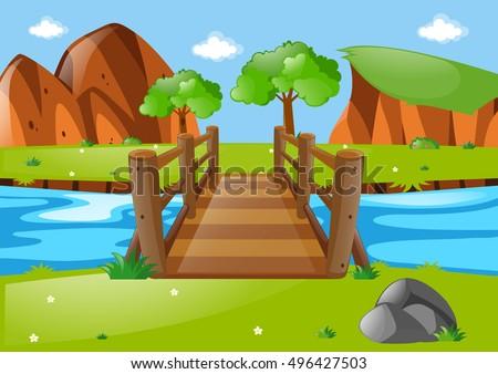 scene with wooden bridge in
