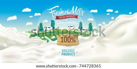 Scenery background with elements of landscape, and splashes from milk, with the inscription and decorative design elements.