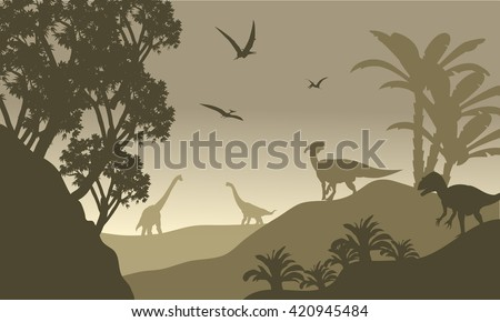 scenery dinosaur of silhouette
