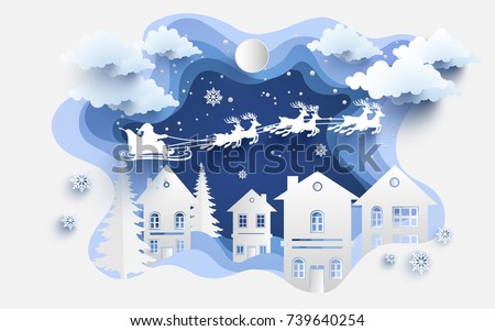 scenery in the winter with homes and snowy hills. design paper art and crafts. winter illustration with home and santa clause.