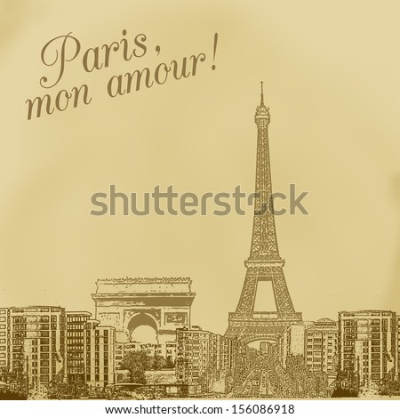 scenery of paris on vintage