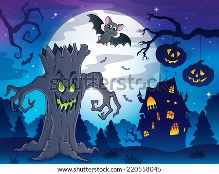 Scenery with Halloween thematics 2 - eps10 vector illustration.