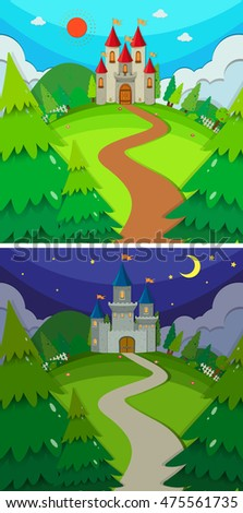 Scenes with castles in the forest day and night illustration #475561735