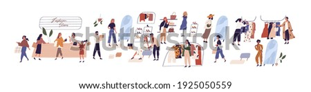 Scenes with people buying clothes in fashion retail store or boutique. Women trying on and choosing apparel in store. Colored graphic flat cartoon vector illustration isolated on white background