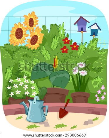 scenic illustration of a garden