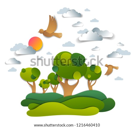 Scenic landscape of meadows and trees, cloudy sky with birds and sun, summer fields and grasslands vector illustration in paper cut kids style. Summer holidays in countryside, travel and tourism.