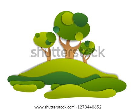 Scenic landscape of meadows and trees, summer fields and grasslands vector illustration in paper cut kids style. Summer holidays in countryside, travel and tourism.