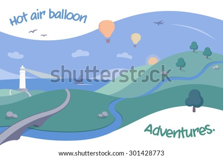 scenic landscape with hot air