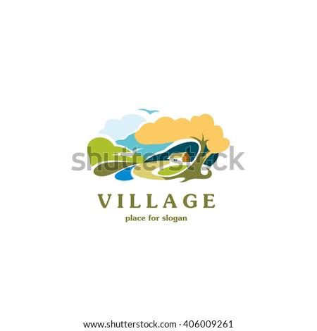 scenic rural landscape village