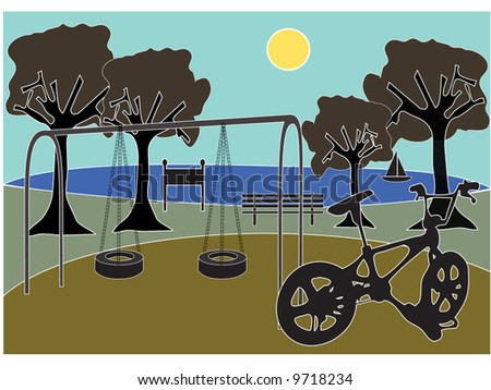 Scenic silhouette park with playground with lake and trees, bicycle in front - vector