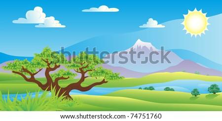 scenic summer landscape vector