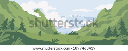 Scenic summer landscape with mountains covered with green grass and trees. Panoramic view of distant mounts range and cloudy sky. Picturesque nature scene. Colored flat textured vector illustration stock photo