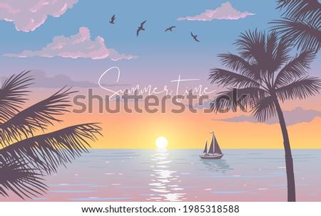 scenic sunset on tropical beach