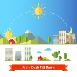 Scenic view of city and rural landscape. All day from dawn and noon till night. Buildings and trees icons set. Flat style vector illustration isolated on white background.