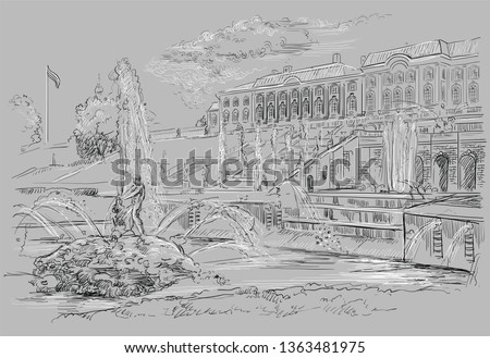 Scenic view of the Grand Cascade, sculptures and fountains on Peterhof Palace in Saint Petersburg, Russia. Isolated vector hand drawing illustration in black and white colors on grey background.