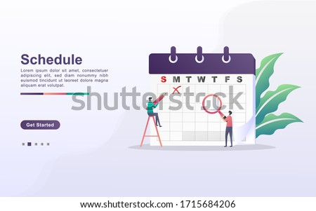 schedule and planning concept, personal study plan creation, business time planning, events and news, reminder and schedule. Can use for web landing page, banner, mobile app. Flat design vector