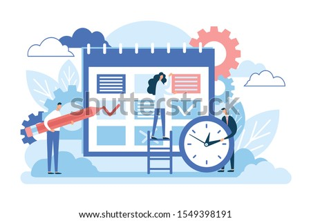 Schedule. Business calendar, time management, office work plan, date event concept. Planner reminder, month scheduling, organizer app, project planning symbol. Characters people. Abstract design