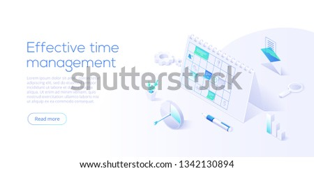 Schedule calendar or office planner in isometric vector illustration. Effective time management concept. Job optimization background for web banner layout template.