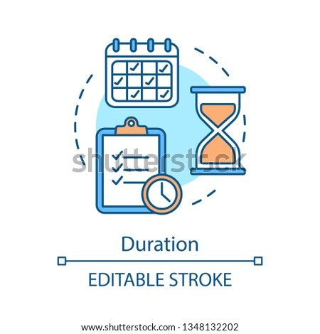 Schedule concept icon. Time management, planning. Calendar, hourglass, tasklist. Timetable. Duration idea thin line illustration. Vector isolated outline drawing. Editable stroke