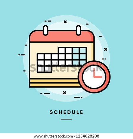 Schedule, flat design thin line banner, usage for e-mail newsletters, web banners, headers, blog posts, print and more. Vector illustration.